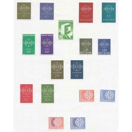 Nuevos sellos Europa 1959 en Año Completo