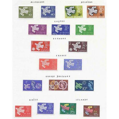 Francobolli nuovi Europa 1961 in anno completo