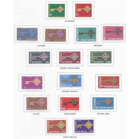 Francobolli nuovi Europa 1968 in anno completo