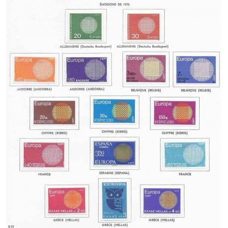 Francobolli nuovi Europa 1970 in anno completo