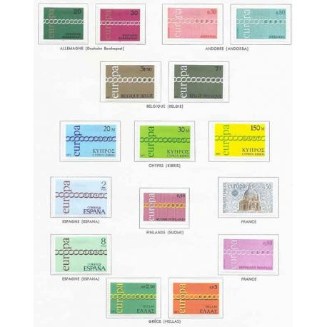 Nuevos sellos Europa 1971 en Año Completo