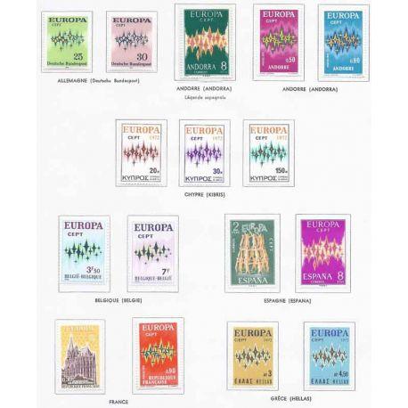 Francobolli nuovi Europa 1972 in anno completo