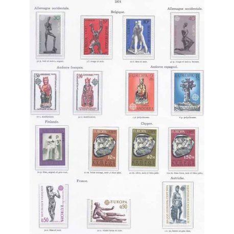 Nuevos sellos Europa 1974 en Año Completo