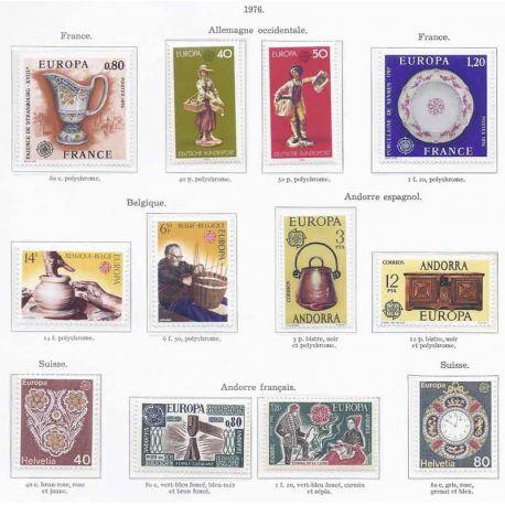 Francobolli nuovi Europa 1976 in anno completo
