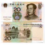 Sammlung von Banknoten China Pick Nummer 899 - 20 Yuan Renminbi 1999