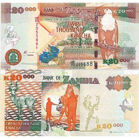 Precioso de billetes Zambia Pick número 47 - 10000 Kwacha