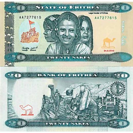 Collection of Banknote Eritrea Pick number 12 - 20 Nakfa
