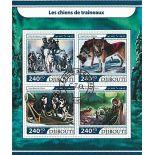Bloc de 4 timbres Thème Chiens de Traineaux