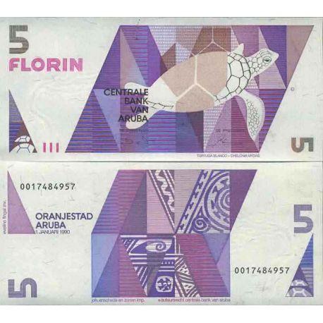 Billet de banque collection Aruba - PK N° 6 - 5 Florin