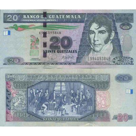 Colección de billetes Guatemala - PK N ° 118 - 20 Quetzal