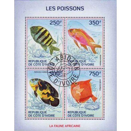 Timbre collection Côte d'Ivoire N° Yvert et Tellier 1302/1305 Neuf sans charnière