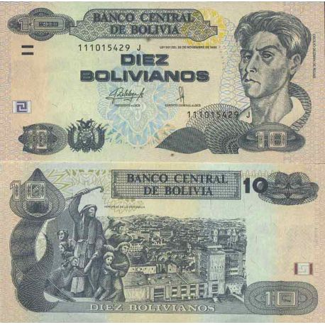Billet de banque collection Bolivie - PK N° 243 - 10 Boliviano