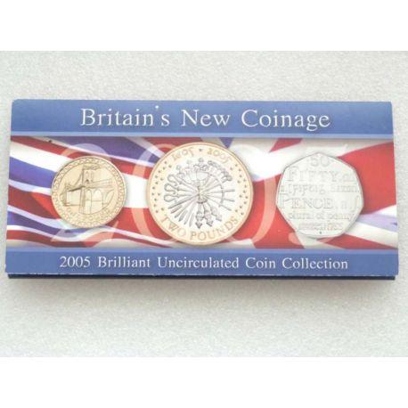 Royaume Uni 2005 Coffret Brillant Universel de 3 monnaies