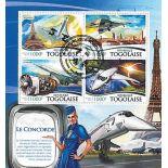 Block of 4 stamps of Burundi Planes Supersonic