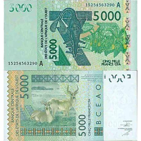 Billets de collection Billet de banque collection Afrique De L'ouest - PK N° 117a - 5 000 Francs Billets de Cote D'ivoire 34,...