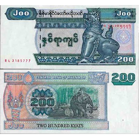 Billet de banque collection Myanmar - PK N° 78 - 200 Kyats