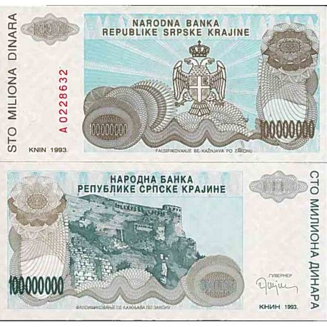 Billets de collection Billet de banque collection Croatie - PK N° 25R - 100 000 000 Dinara Billets de Croatie 7,00 €