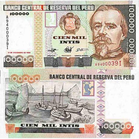 Billet de banque collection Pérou - PK N° 145 - 100 000 Intis