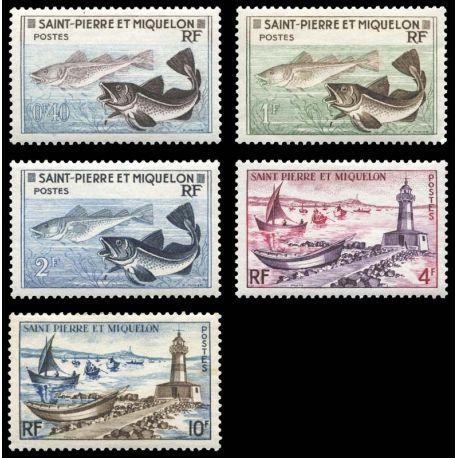 Timbre collection St Pierre & Miquelon N° Yvert et Tellier 353/357 Neuf sans charnière