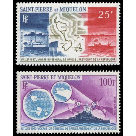 Timbre collection St Pierre & Miquelon N° Yvert et Tellier PA 38/39 Neuf sans charnière