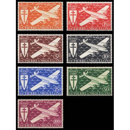 Timbre collection St Pierre & Miquelon N° Yvert et Tellier PA 4/10 Neuf sans charnière