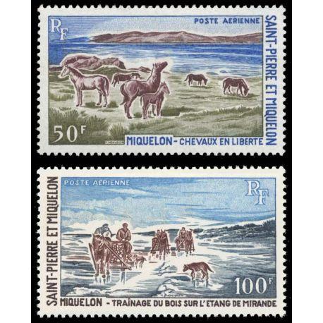 Timbre collection St Pierre & Miquelon N° Yvert et Tellier PA 44/45 Neuf sans charnière