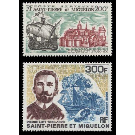 Timbre collection St Pierre & Miquelon N° Yvert et Tellier PA 46/47 Neuf sans charnière