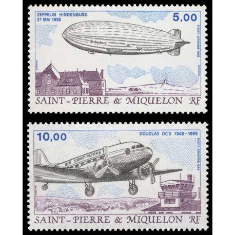 Timbre collection St Pierre & Miquelon N° Yvert et Tellier PA 66/67 Neuf sans charnière