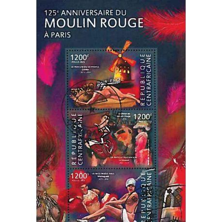 Bloc de 3 timbres Anniversaire du Moulin Rouge
