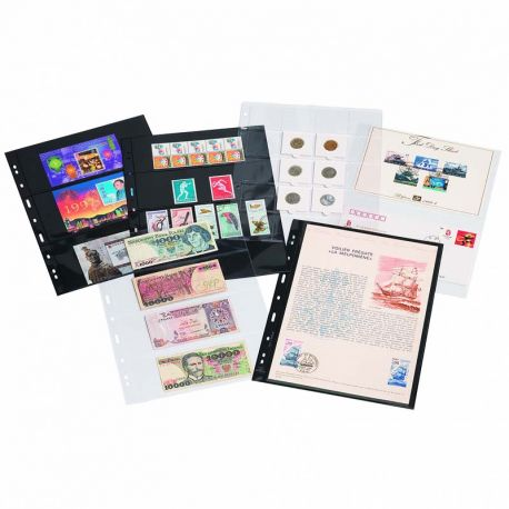 Matériel de rangement pour collectionneurs de marque Leuchtturm 5 Recharges A4 Leuchtturm Grande pour timbres, billets, carte...