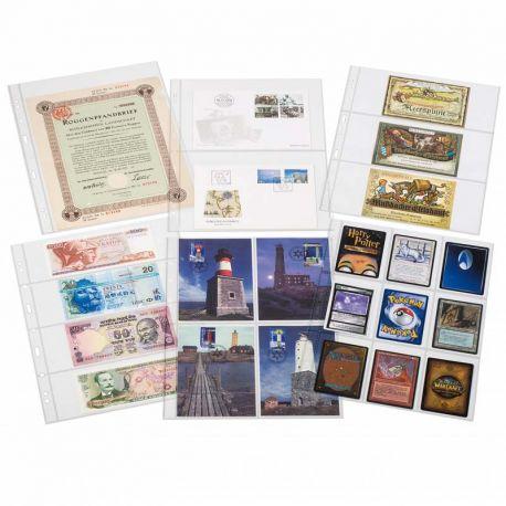 Matériel de rangement pour collectionneurs de marque Leuchtturm 50 Recharges plastiques A4 Leuchtturm pour timbres, billets,....