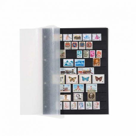 5 cartes de rangement noires A4 Leuchtturm Grande pour timbres