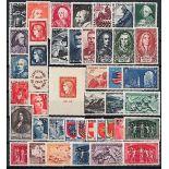 Briefmarken Frankreich 1949 in neuem ganzem Jahr