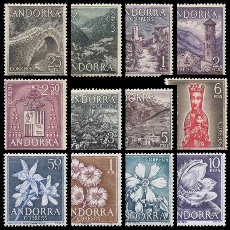 Sellos Andorra Española 1963/66 en Año completo