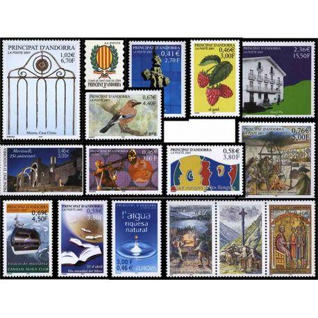 Französisches Andorra vervollständigt Jahr 2001 neue Briefmarken