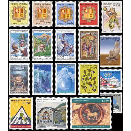 Französisches Andorra vervollständigt Jahr 2002 neue Briefmarken