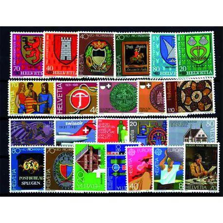 Timbres Neufs Suisse 1981 en Année Complète
