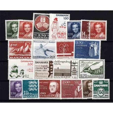Briefmarke Dänemark neues ganzes Jahr 1982