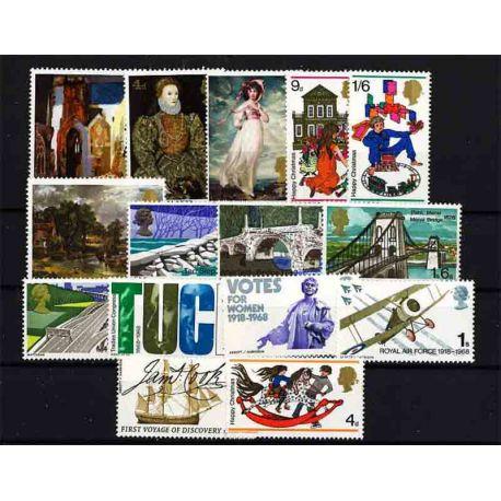 Briefmarke das Vereinigte Königreich neues ganzes Jahr 1968
