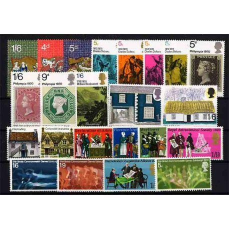 Briefmarke das Vereinigte Königreich neues ganzes Jahr 1970