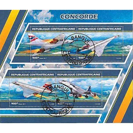 Timbres thèmatiques Centrafrique Concorde Oblitérés