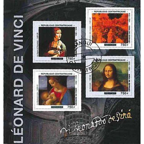 Timbres thèmatiques Centrafrique Léonard de Vinci Oblitérés