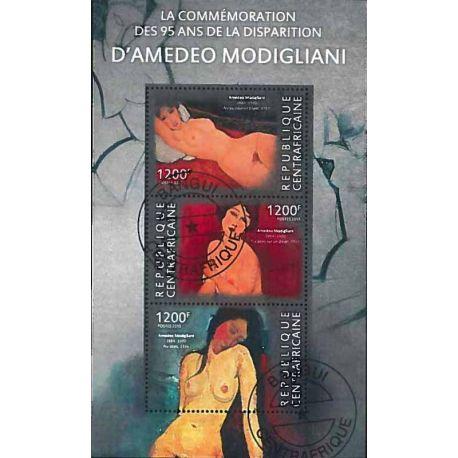 Timbres thèmatiques Centrafrique Modigliani Oblitérés