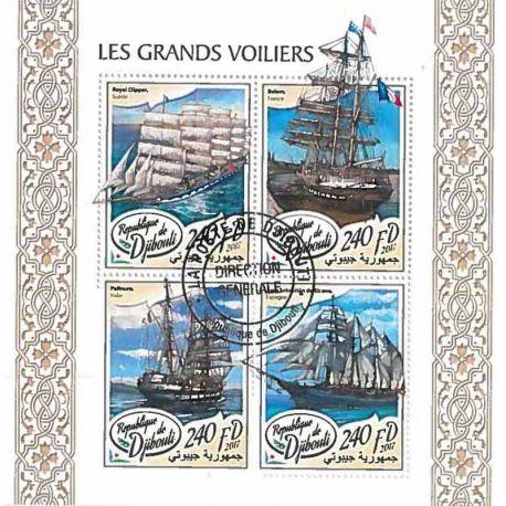 Timbres thèmatiques Djibouti Bateaux voiliers Oblitérés