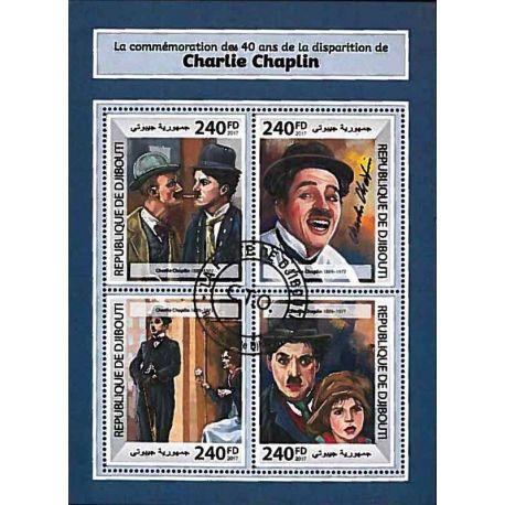 Timbres thèmatiques Djibouti Charlie Chaplin Oblitérés