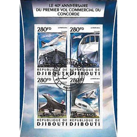 Timbres thèmatiques Djibouti Concorde Oblitérés