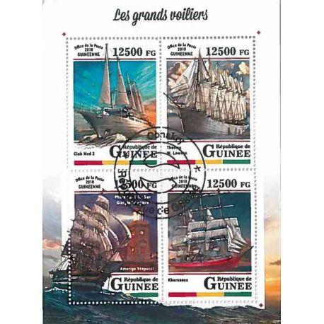 Timbres thèmatiques Guinée Bateaux voiliers Oblitérés