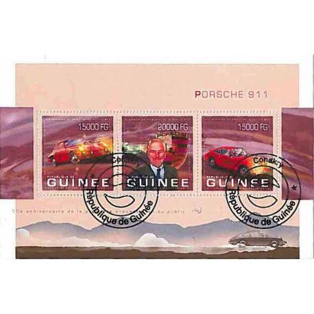 Timbres thèmatiques Guinée Voitures Porsche Oblitérés