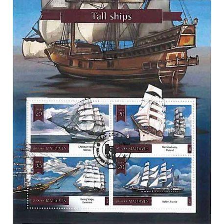 Timbres thèmatiques Maldives Bateaux voiliers Oblitérés