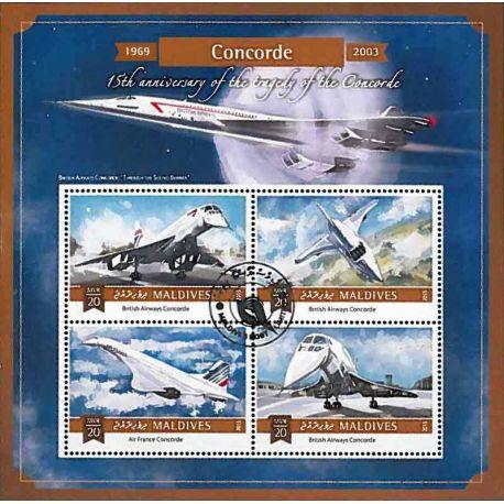 Timbres thèmatiques Maldives Concorde Oblitérés